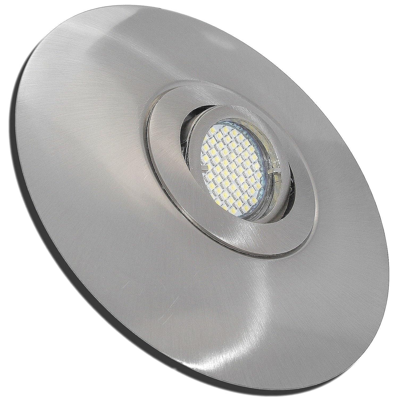 4 Stück SMD LED Einbaustrahler Big Lana 12 Volt 3 Watt Schwenkbar Edelstahl geb.   Warmweiß