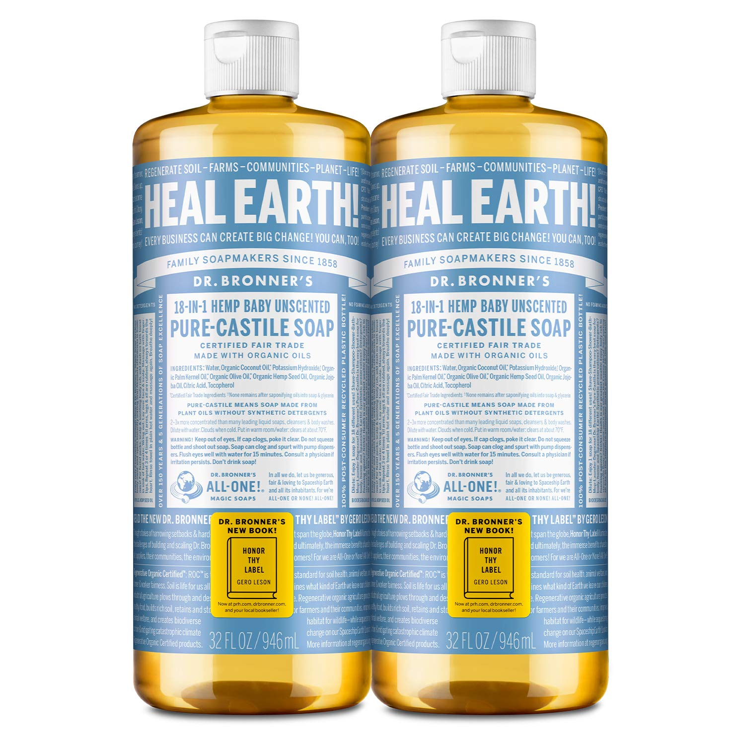 Dr. Bronner's - Pure-Castile Liquid Soap (Baby Unscented, 32 ounce, 2-Pack) - Made with Organic Oils, 18-in-1 Uses: Face, Hair, Laundry and Dishes, For Sensitive Skin and Babies, No Added Fragrance