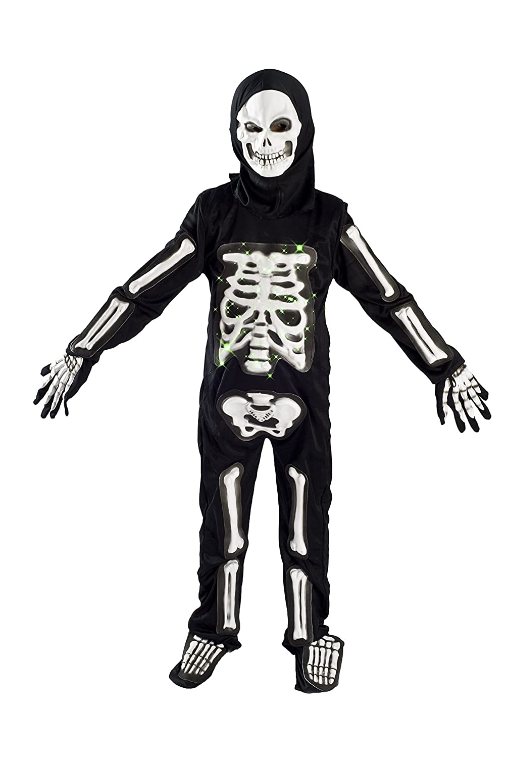 amazoncom skeleton costume for boys kids light up halloween size m 5 7 l 6 9 clothing - Skeleton Halloween Costume For Kids