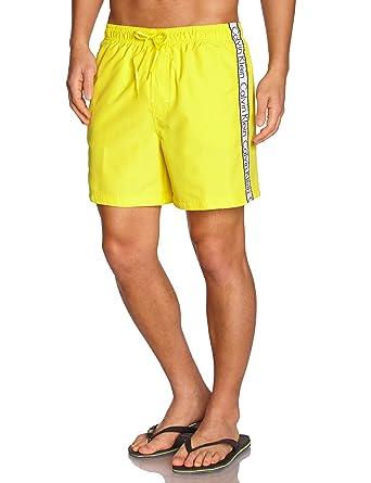 d0bf216d60 Calvin Klein Logo Tape Drawstring Swim Shorts, Yellow Sun: Amazon.co.uk:  Clothing
