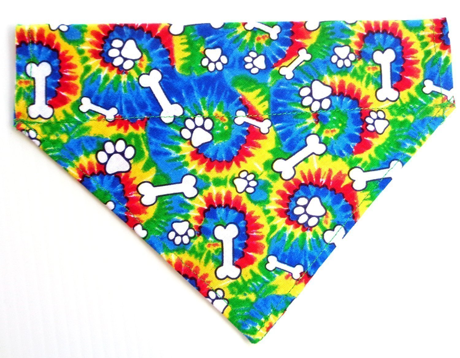 Reversible Tie-Dye Paws and Bones Prints Dog Bandana, Doggie Accessories, Thread Thru Slip Through Over the Collar Petwear
