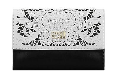 bace9ff6e69f Roberto Cavalli Class Leather Clutch Bag Black & White: Amazon.co.uk ...