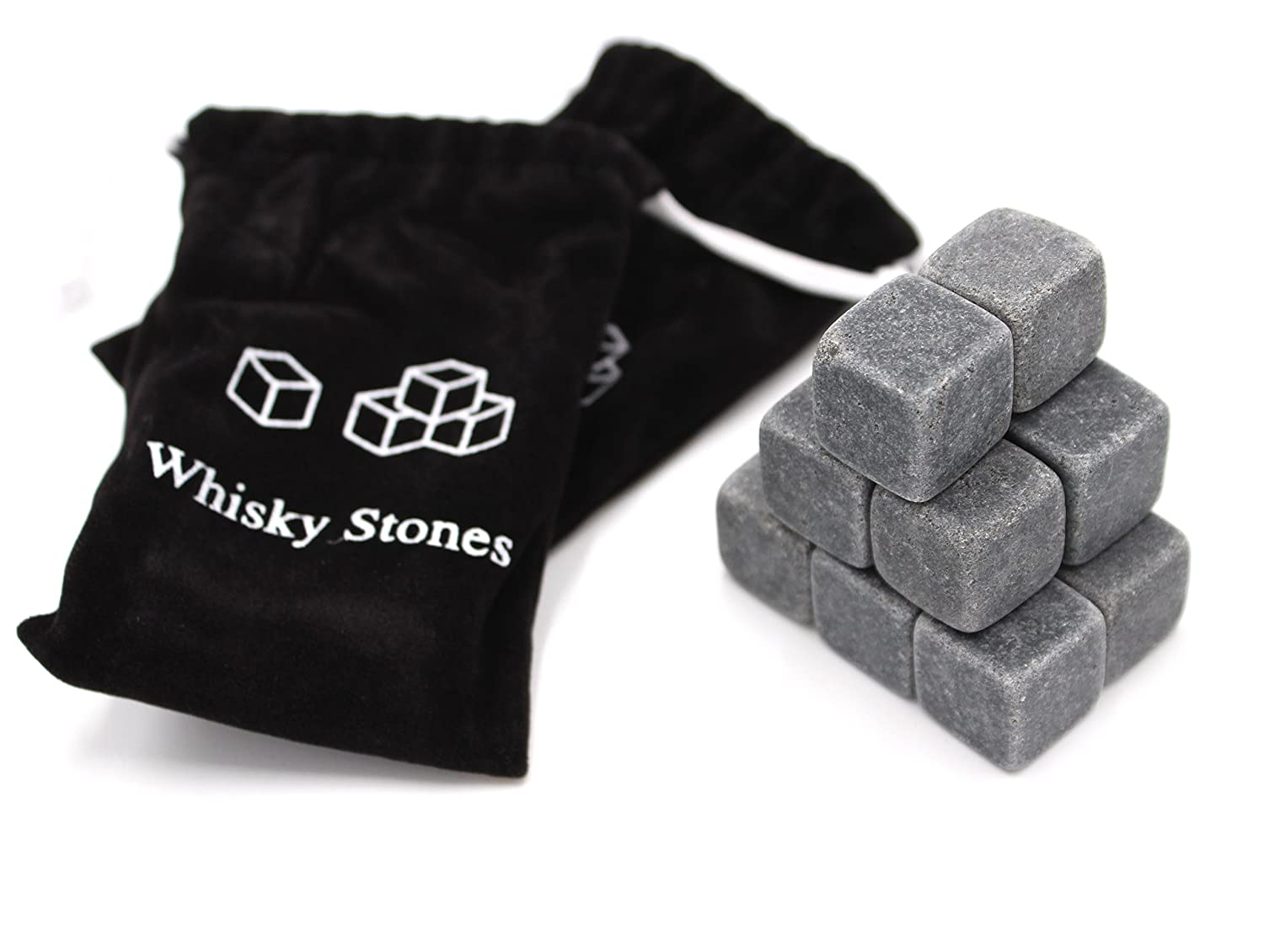 Set of 18 - Pure Soapstone Reusable Chilling Rocks for Whiskey - No Water Dilution & Perfect For Liquor, Wine and Other Beverages - With 2 Velvet Bags Included (Grey Color) FIVOENDAR