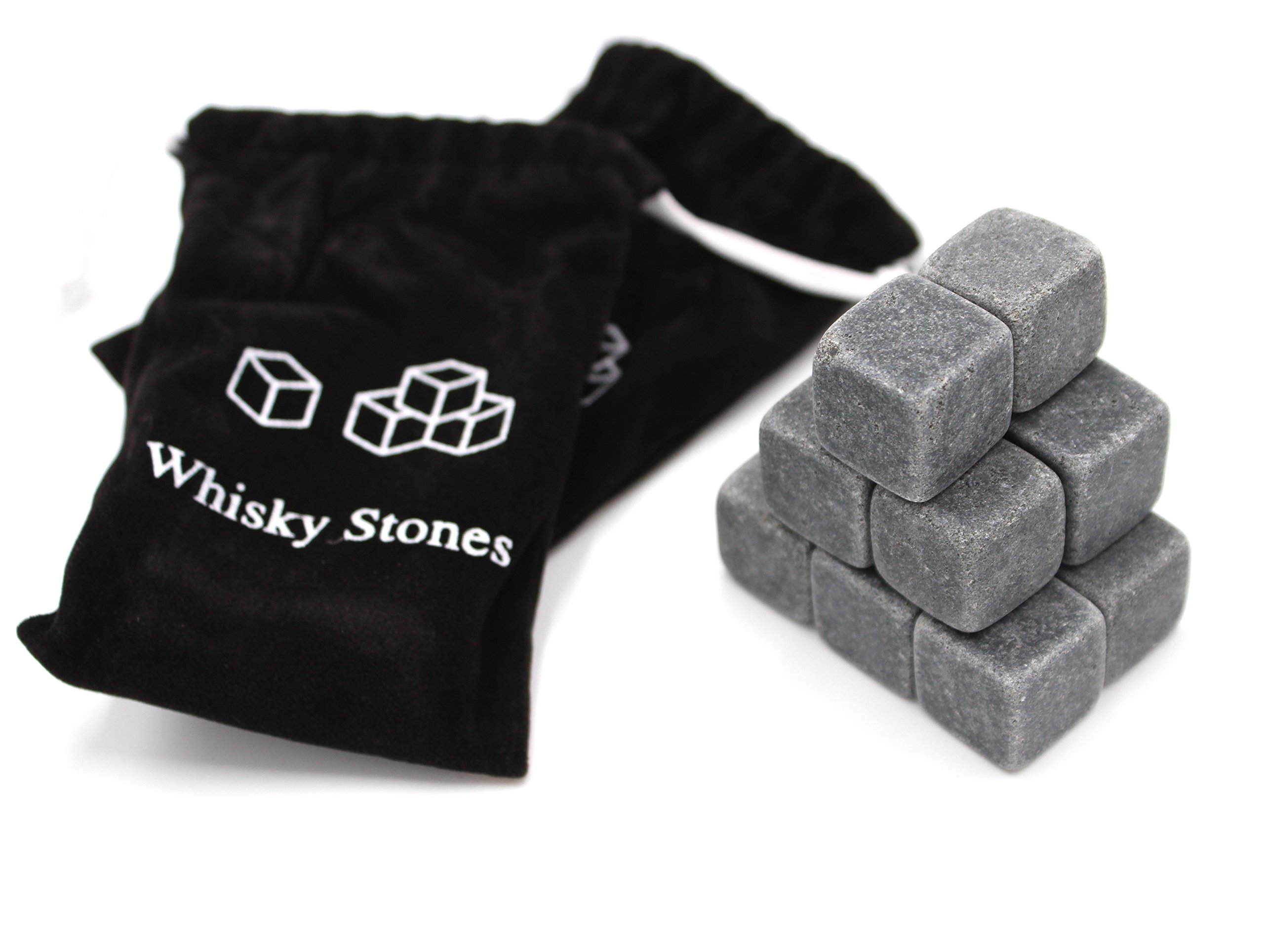 Set of 18 - Pure Soapstone Reusable Chilling Rocks for Whiskey - No Water Dilution & Perfect For Liquor, Wine and Other Beverages - With 2 Velvet Bags Included (Grey Color)