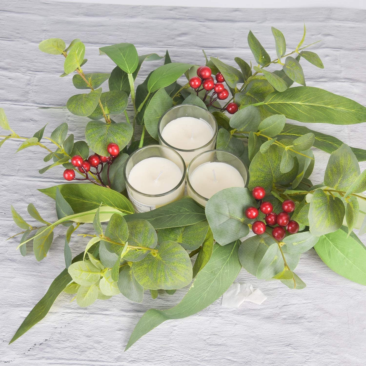 Green Christmas Berry Wreath For Home Farmhouse Wall Decor Red Deco Artificial 20 Front Door Christmas Wreaths With 6 5 Candle Ring Home Christmas