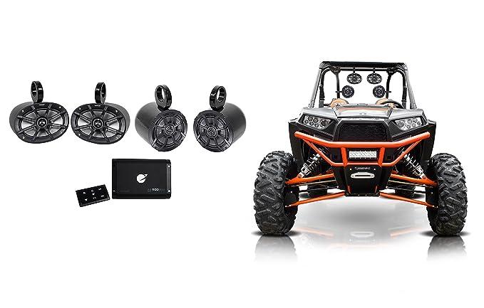 """(2) Kicker 6x9""""+6.5"""" Tower Speakers+4-Ch Bluetooth Amplifier Polairs RZR/ATV/UTV"""