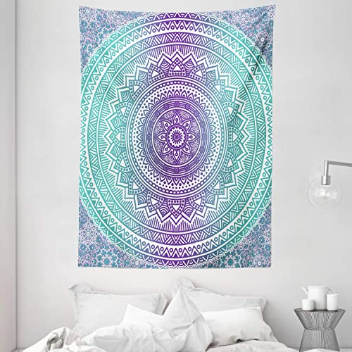 Ambesonne Blue and Purple Tapestry, Mandala Ombre Eastern Mystic Abstract Old Fashion Bohemian Native Cosmos Art, Wall Hanging for Bedroom Living Room Dorm, 60 X 80 , Purple