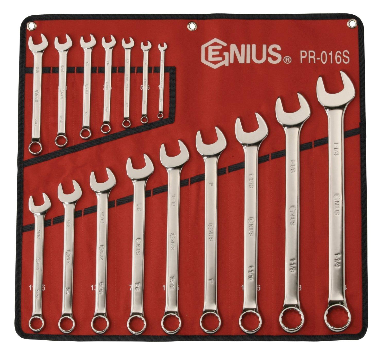 PR-016S Genius Tools 16 Piece SAE Combination Wrench Mirror Finish