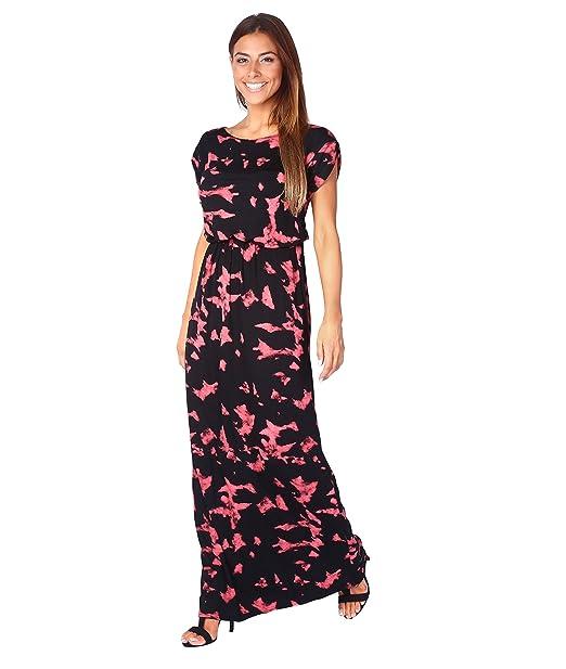 17a5c2695eb9 KRISP® Womens Boho Maxi Dress Summer Beach Short Sleeve Tie Dye Print   Amazon.co.uk  Clothing