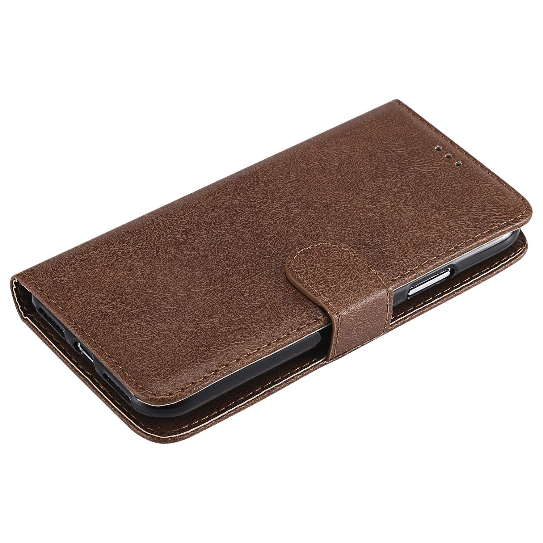 Lomogo Funda iPhone XS//iPhone X Funda de Cuero con Cartera para Tarjetas y Cierre Magnetico Soporte Plegable Carcasa Libro Antigolpes para Apple iPhoneXS//iPhoneX LOKTU30036 Marr/ón