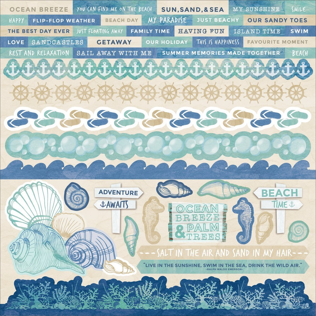 Kaisercraft Coastal Escape Cardstock Stickers 12-Inch x 12-Inch- 10 Sheets Per Pack 526267