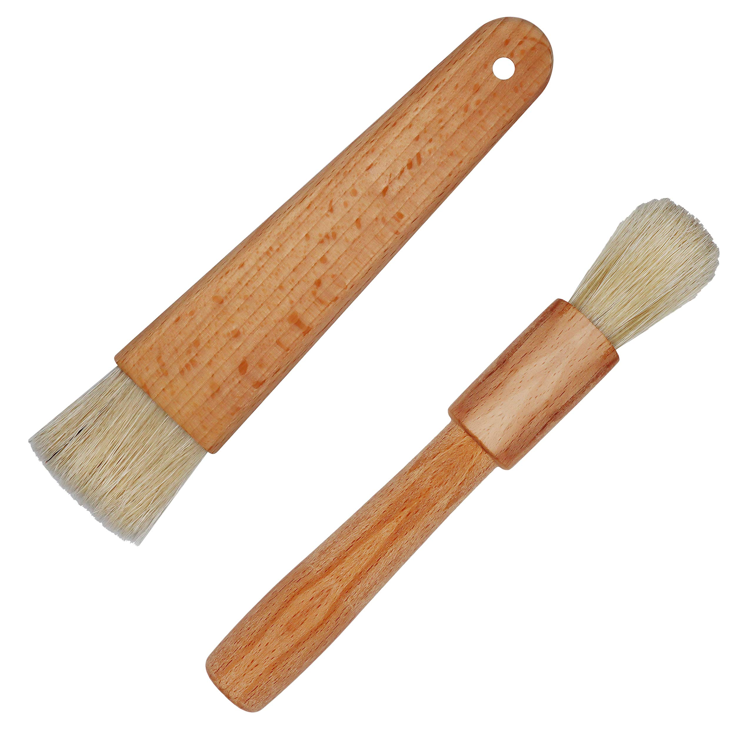 Exceliy 2 Sets Pastry Brushes with Wooden Handle Natural Bristles for Basting Spreading Butter Oil in Barbecue Baking Kitchen Cooking by EIKS