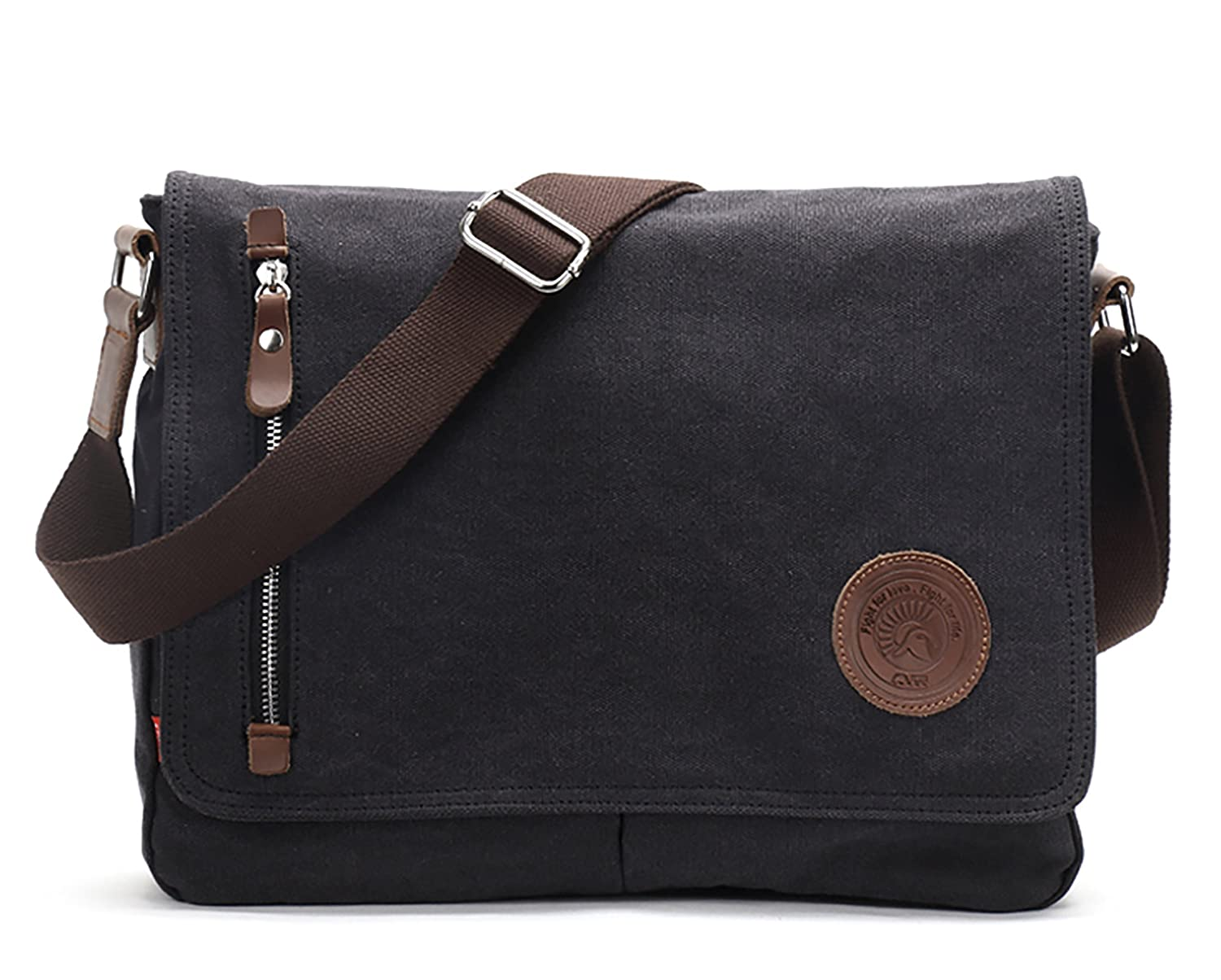 Vintage Men s Canvas Messenger Bag Laptop Shoulder Satchel Crossbody Sling Bookbag School Bag M36_Black