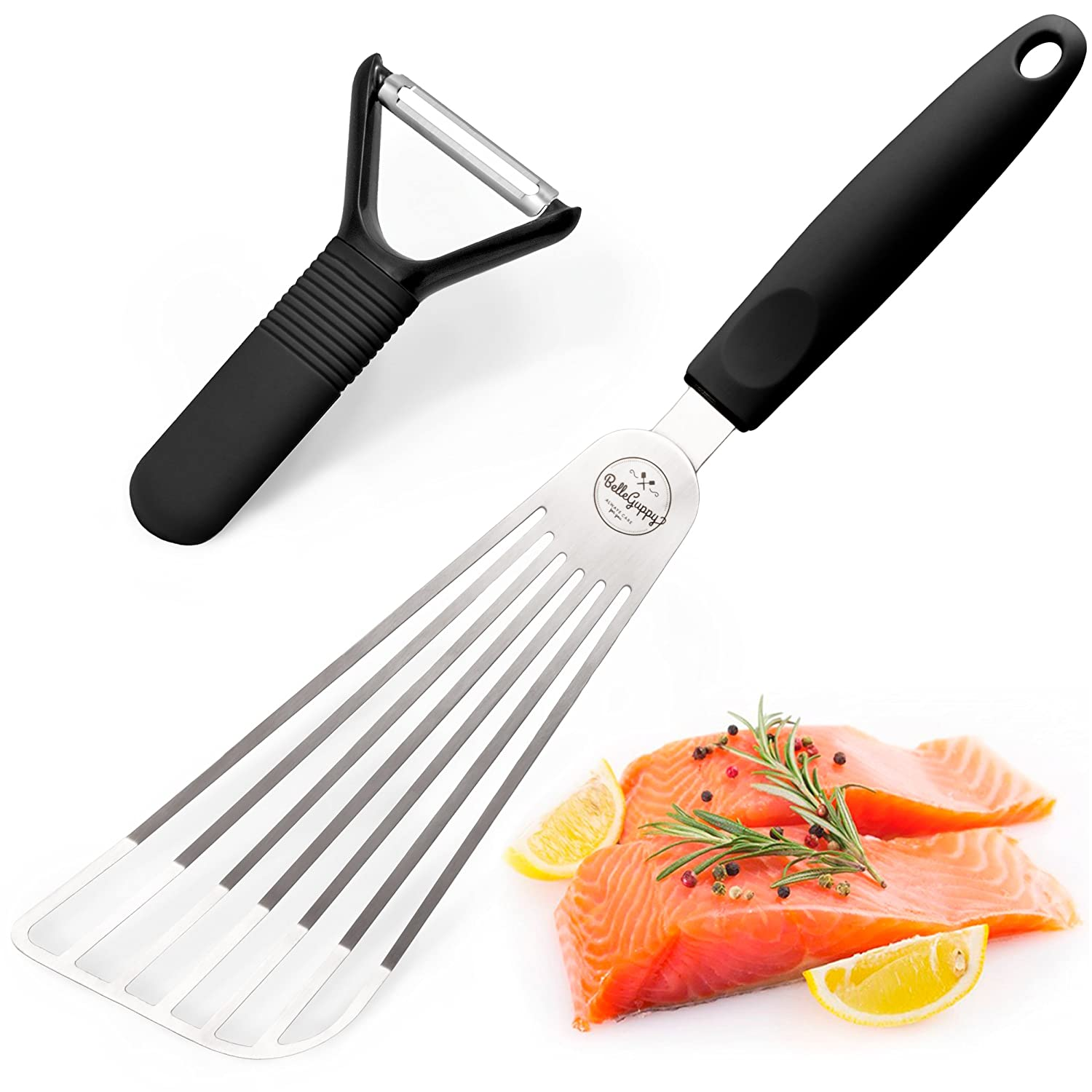 Fish Spatula Stainless Steel, Multipurpose Flexible Slotted Spatula, Non-Slip Silicone Handle for Turning, Frying,Grilling + Transferring – eggs, meat, fish and pancakes by BelleGuppy (black)