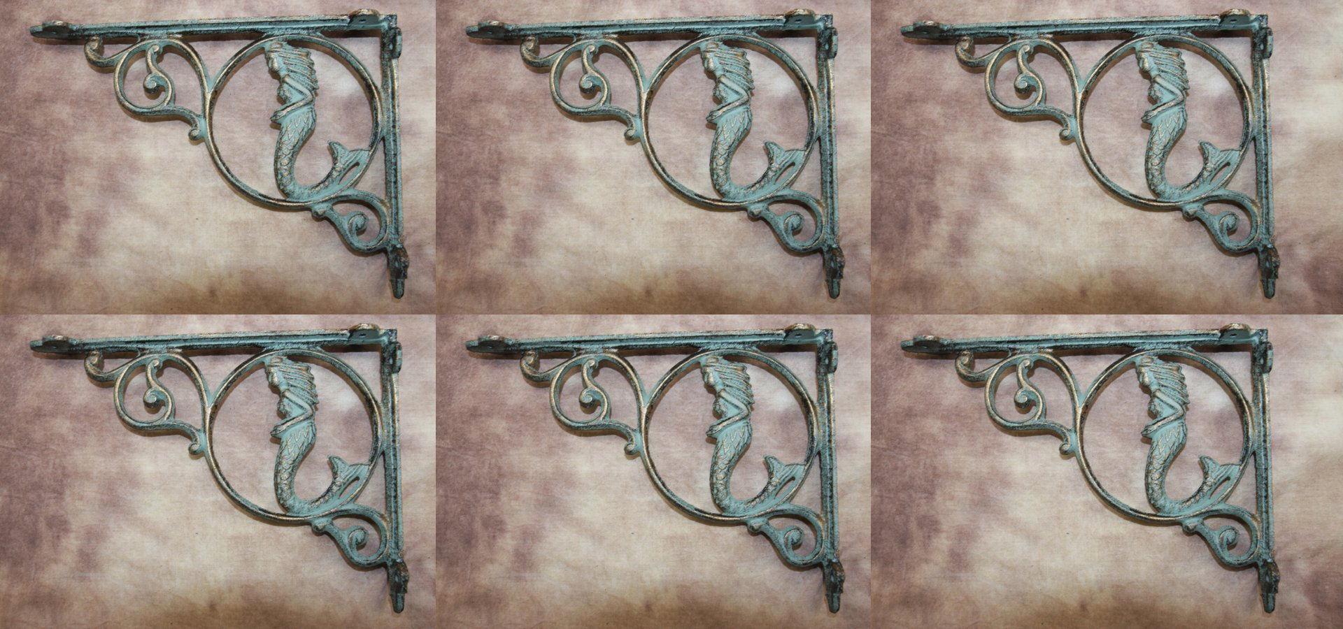 Vintage-style Mermaid Wall Shelf Brackets Set of 6