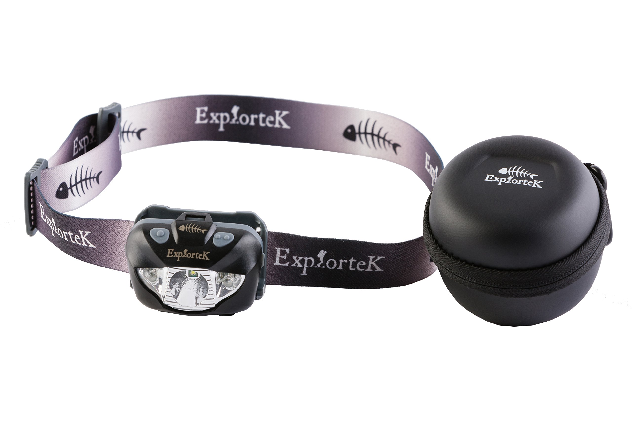 Explortek LED Headlamp Flashlight with Red and White Light Plus Travel Case - Super Bright 168 Lumen Cree Headlight for Hiking Running Camping Hunting - Waterproof IPX6 - Duracell Batteries Included by Explortek