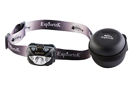 Explortek Nite Blazer LED Headlamp Flashlight With Red And White Light Plus  Portable Case