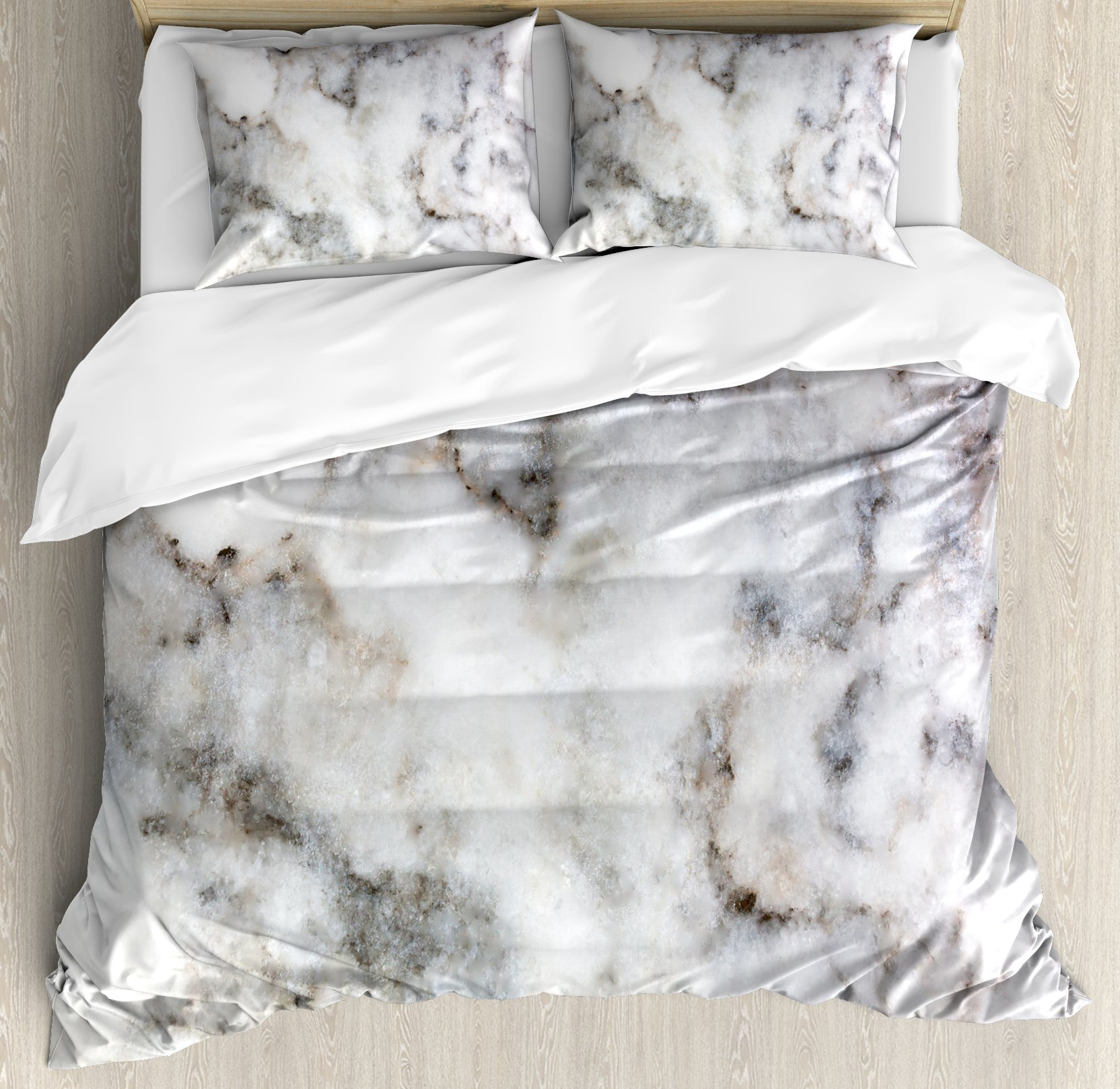 Marble Queen Size Duvet Cover Set by Ambesonne, Rock Pattern Limestone with Stain Traces Surface Artistic Authentic Design, Decorative 3 Piece Bedding Set with 2 Pillow Shams, Dust Grey White