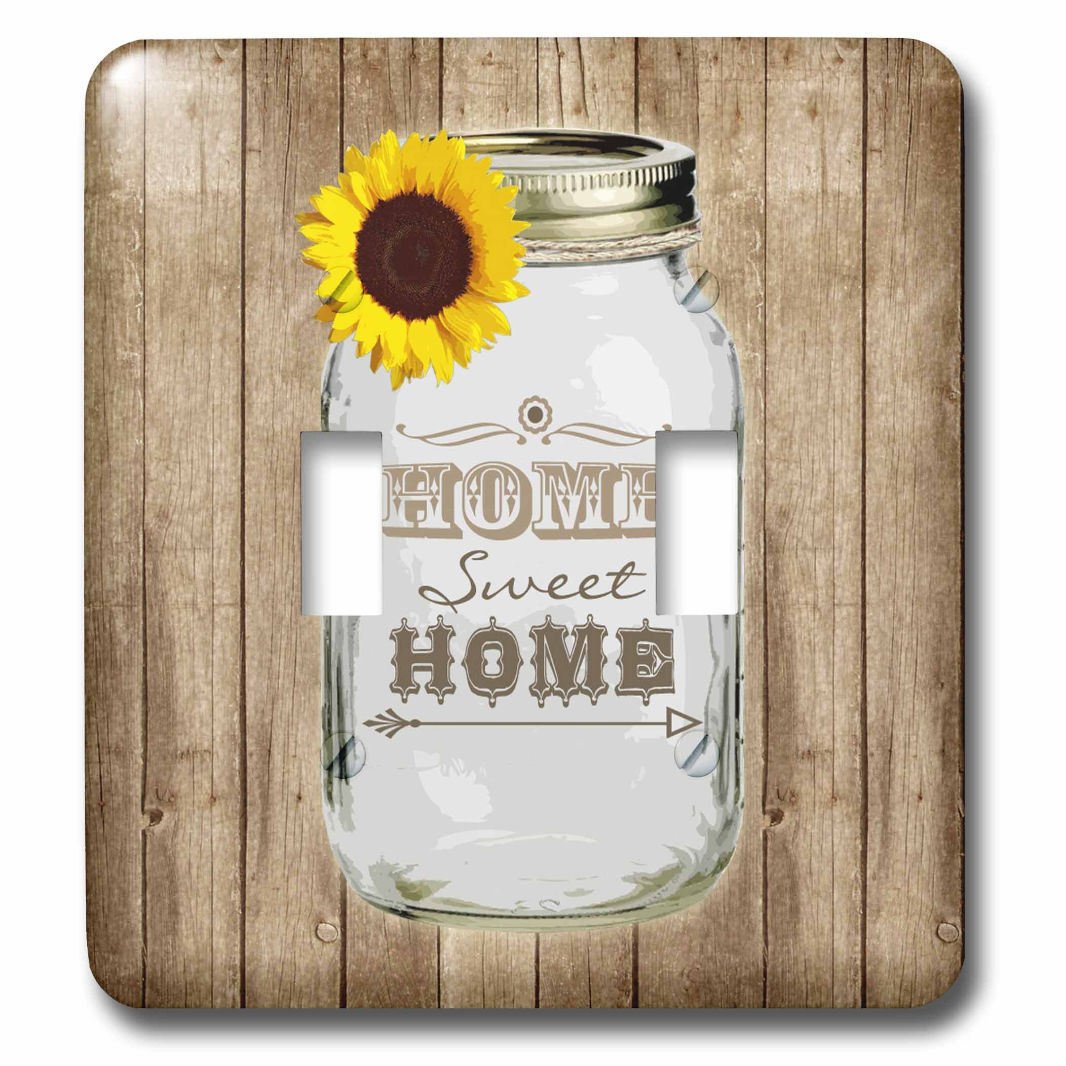 3dRose LLC lsp_128555_2 Country Rustic Mason Jar with Sunflower Home Sweet Home Double Toggle Switch