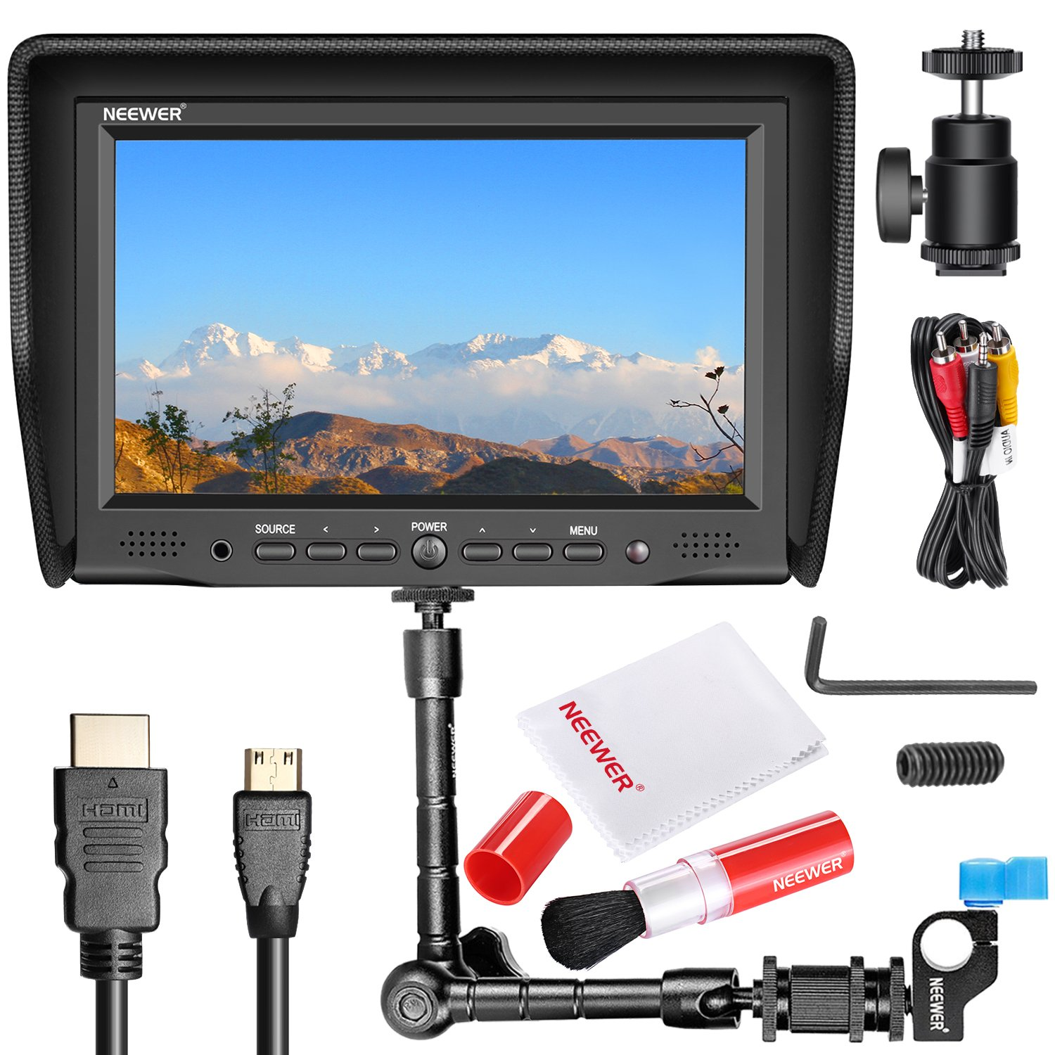 Neewer NW-708M 7 inches On-Camera Field Monitor Kit:800x480 High Resolution IPS Screen Monitor, 11 inches Magic Arm with Rod Clamp, Cleaning Kit Includes Lens Brush and Cleaning Cloth 90090277