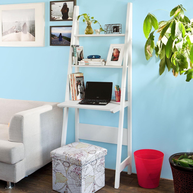 SoBuy FRG60-W,Wood Storage Display Shelving Ladder Shelf with Table Worktop,Wall Book Shelf,White