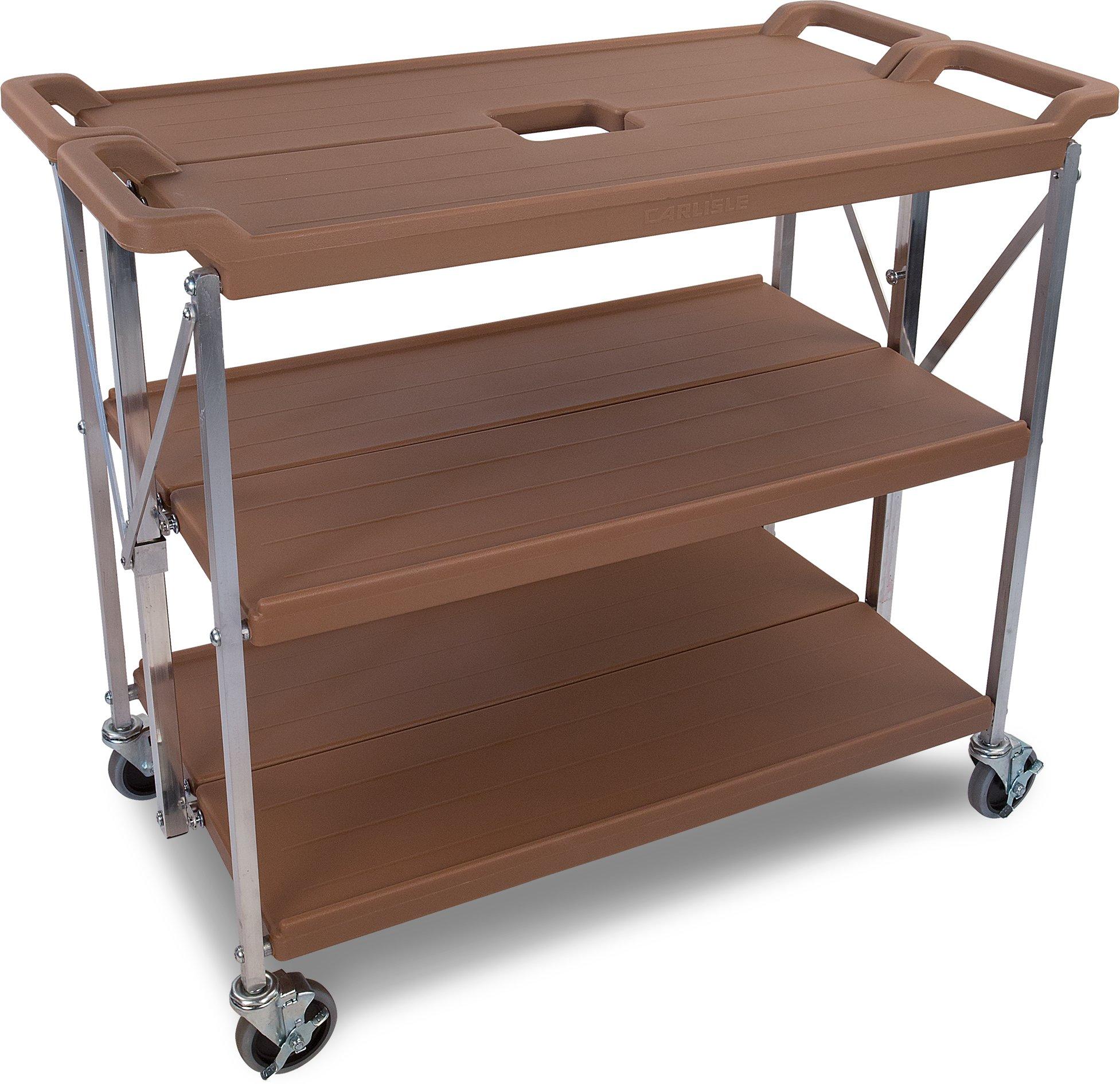 Carlisle SBC203125 Fold 'N Go Collapsible Utility Cart, 350 Pound Capacity, 31'' Length x 20'' Width Shelf, Tan