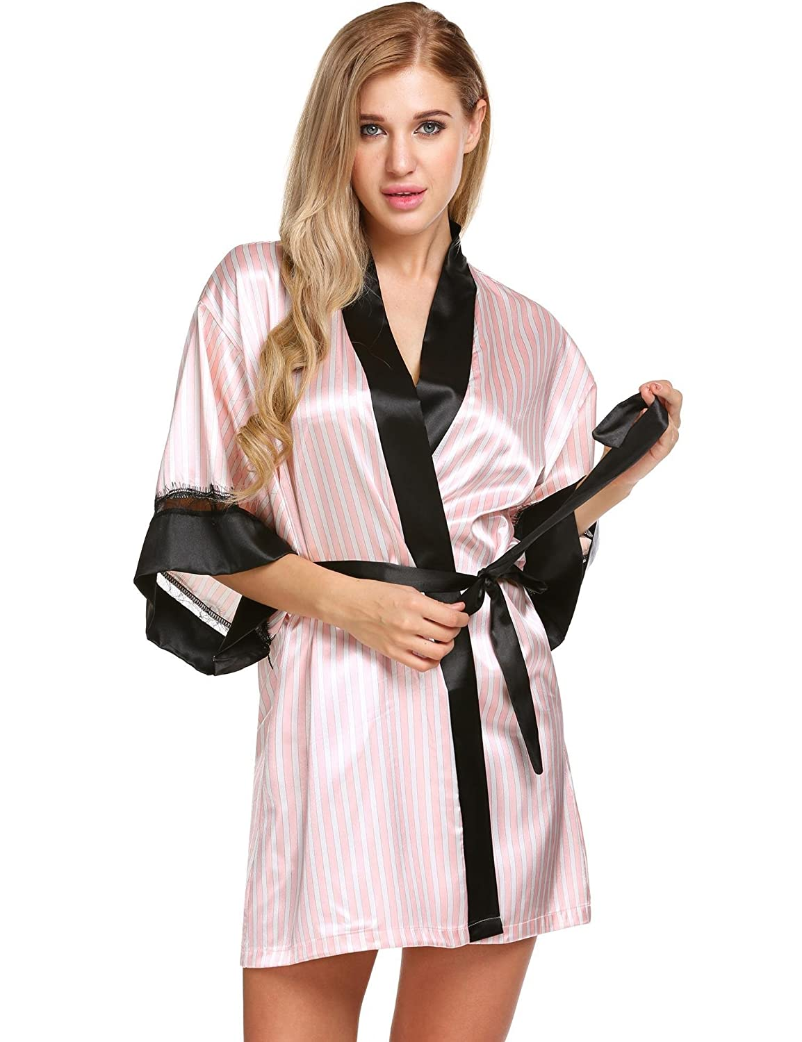 Ekouaer Womens Satin Bathrobes Short Kimono Robe Stripes Bridesmaids Lace Contrast *EKK007929