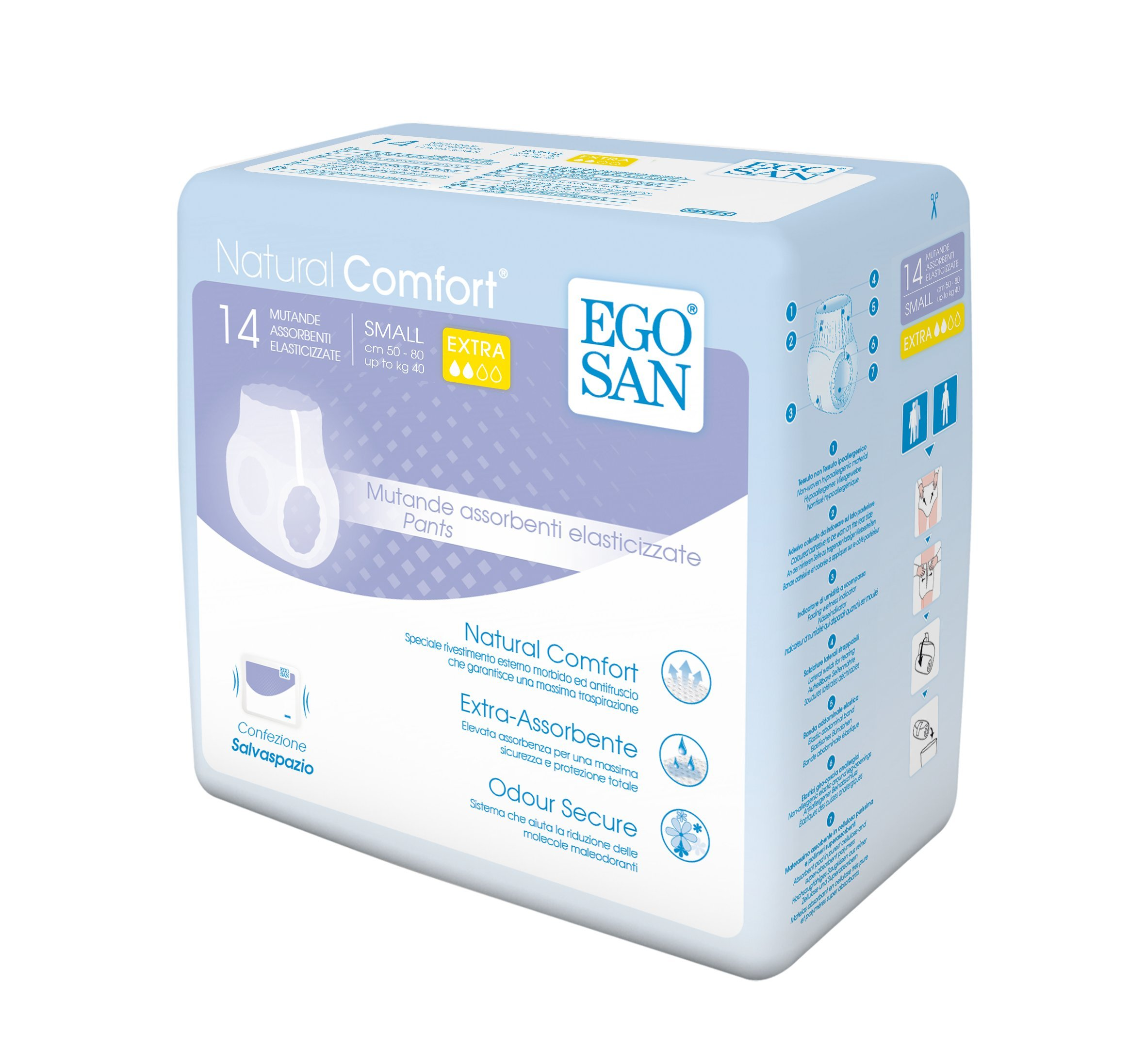 EGOSAN Extra Incontinence Adult Pull Up Underwear Adult Diapers with Stretchable Waistband, Maximum Absorbency for Active Men and Women (Small, 14 Diapers)