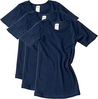 HERMKO 2810 Kit de 3 Camisetas Interiores Manga Corta para Chicos y Chicas, 100% algodón orgánico