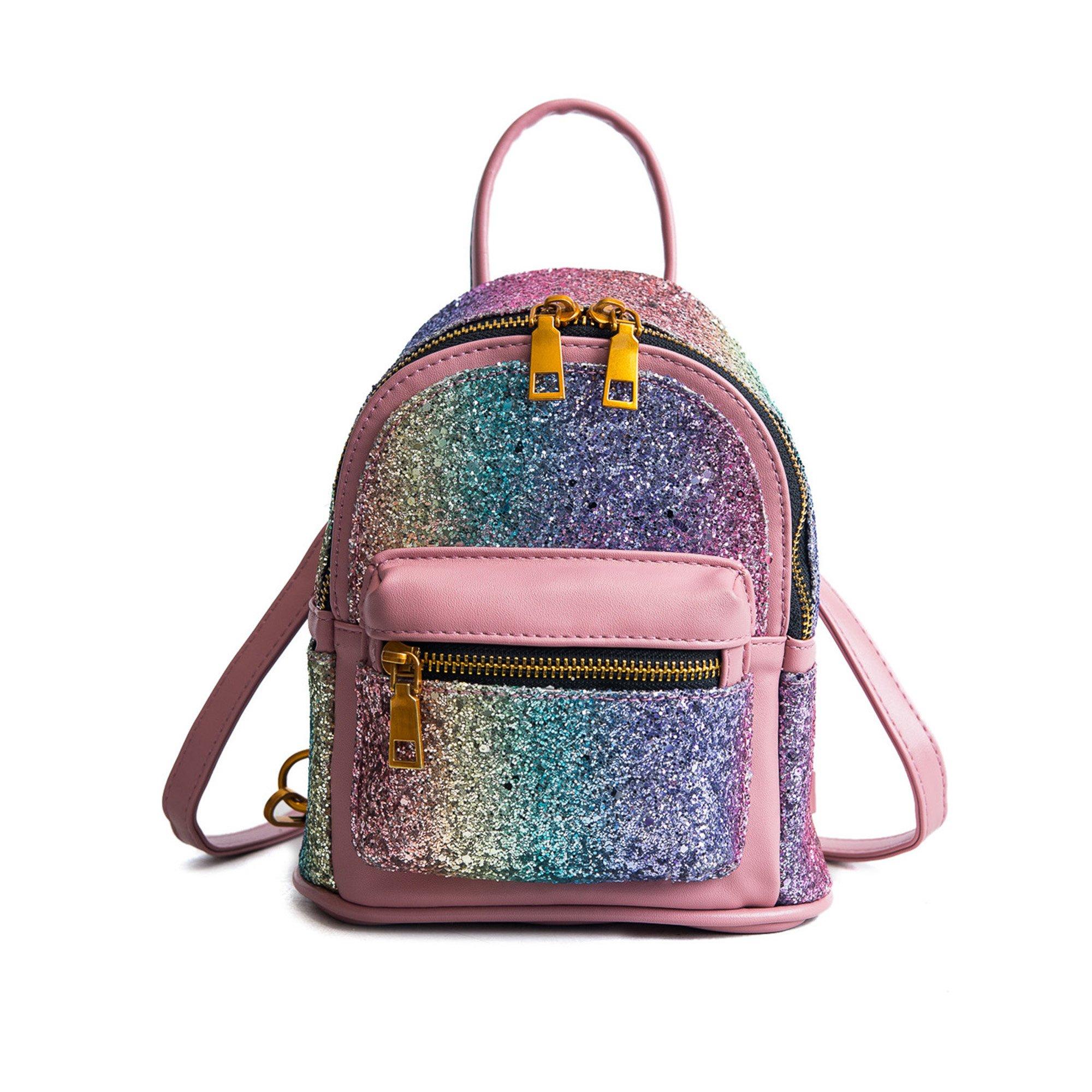 Girls Bling Mini Travel Backpack Kids Children School Bags Satchel Purses Daypack (pink rainbow) by JIANBAO (Image #1)