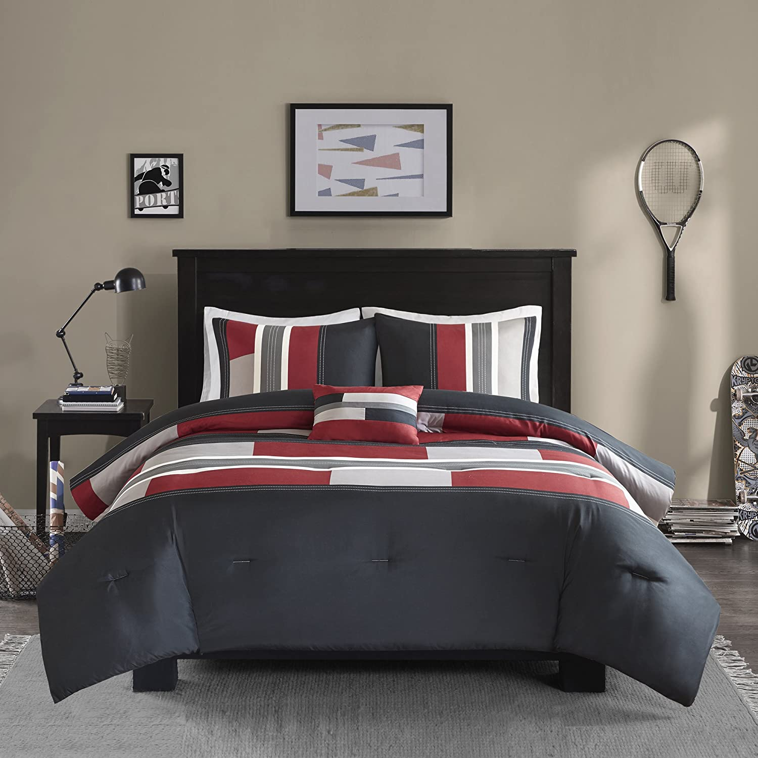 Comfort Spaces - Pierre Comforter Set - 3 Piece - Black/Red - Multi-Color pipeline Panels - Perfect For Dormitory - Boys