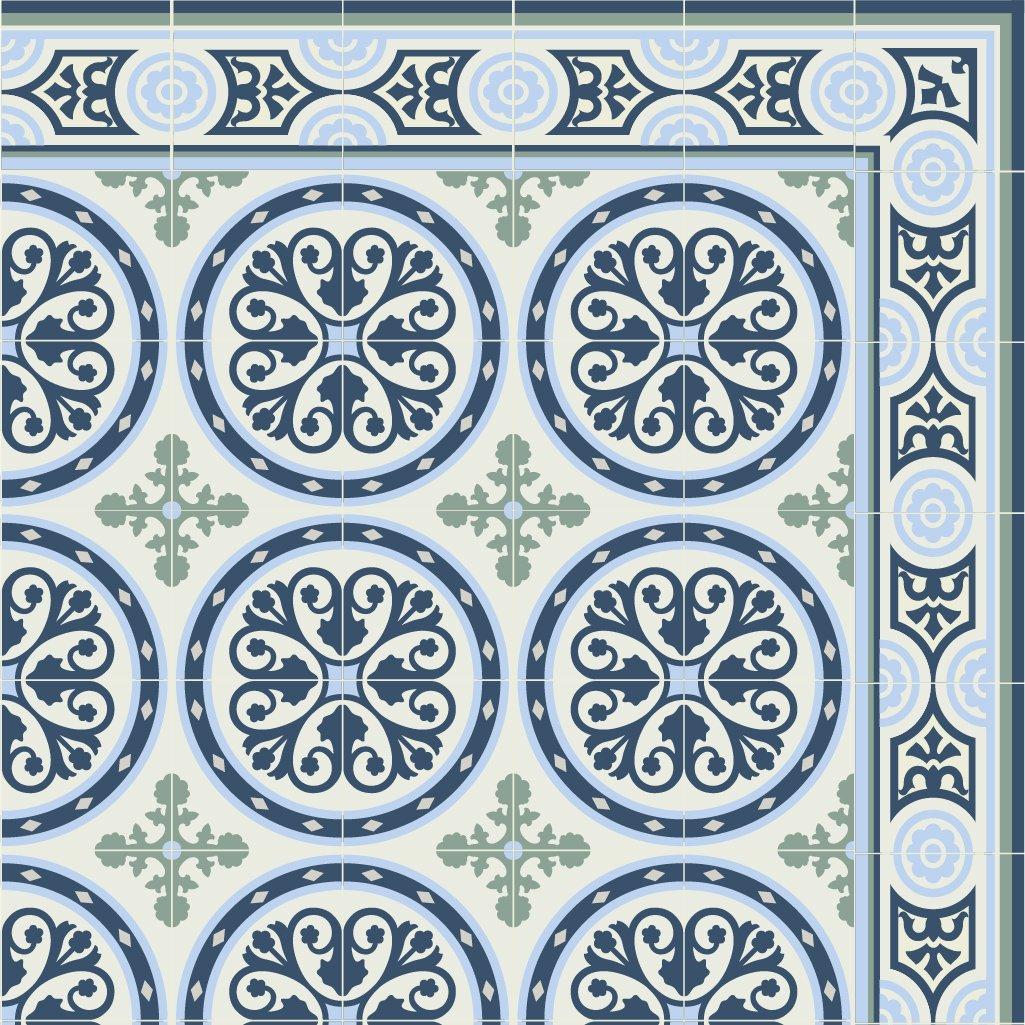 PVC vinyl mat Carpet Tiles Pattern Decorative linoleum rug, blue 813