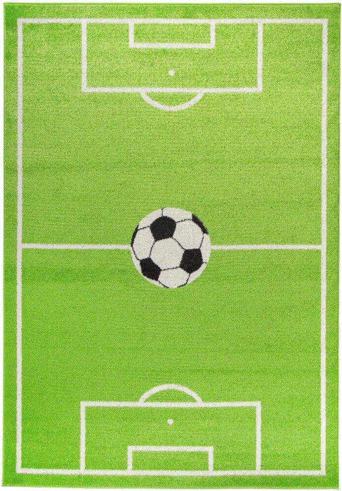 Carpetforyou Jungenteppich Football mit Fußballspielplatz und Spielball bunt grün weiß schwarz in 4 Größen für Kinderzimmer (160 x 230 cm) B07C9HJYLP Teppiche