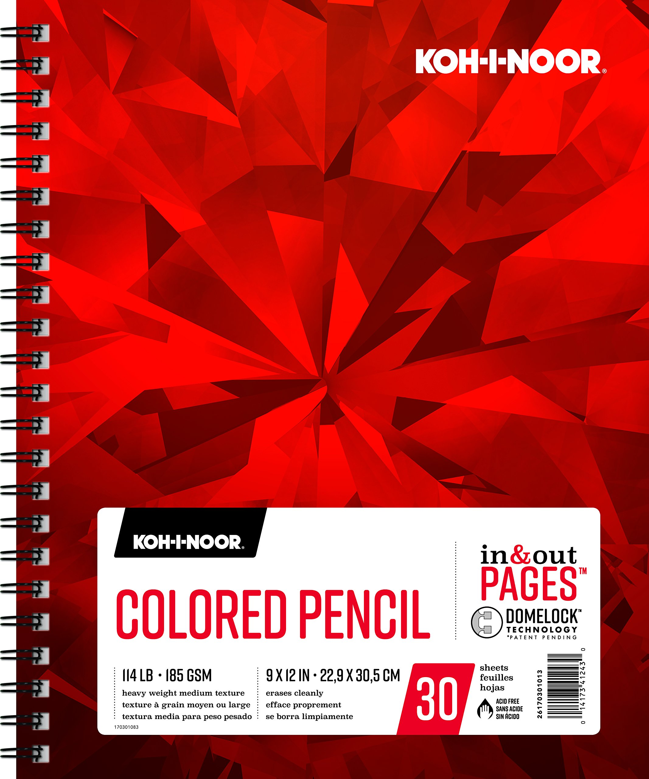Koh-I-Noor Colored Pencil White Drawing Paper Pad, In and Out Pages, 114lb, 185 GSM, 9 x 12'', Side Wire-Bound, 30 Sheets per Pad (26170301013)