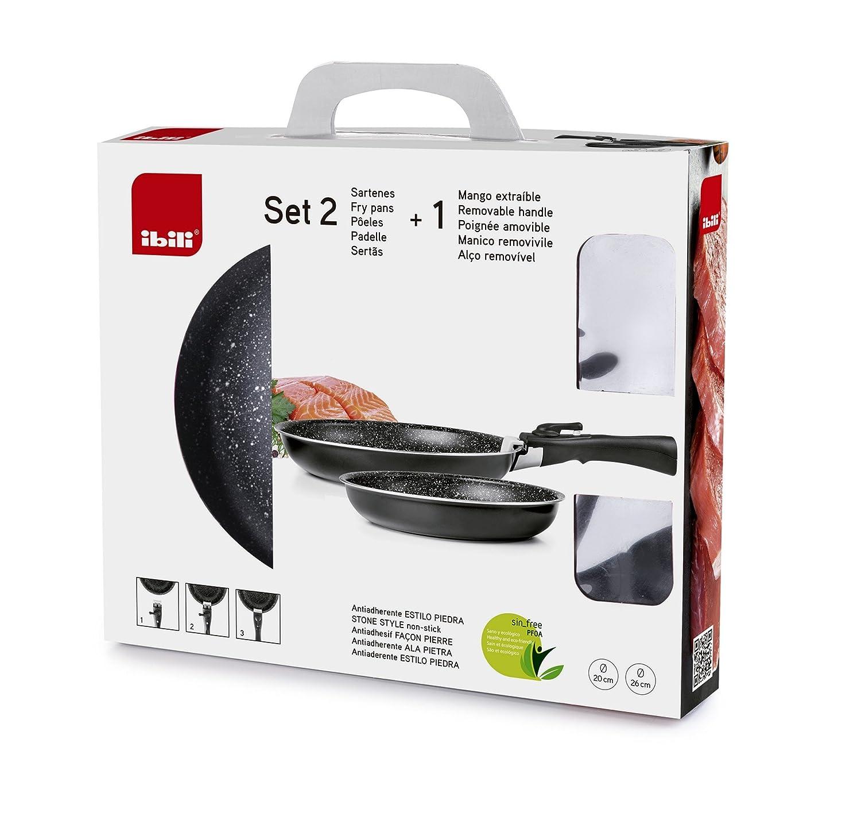 IBILI 460500 Set 2 Sartenes + 1 Mango extraíble, Aluminio, Negro, 26 x 26 x 5 cm: Amazon.es: Hogar