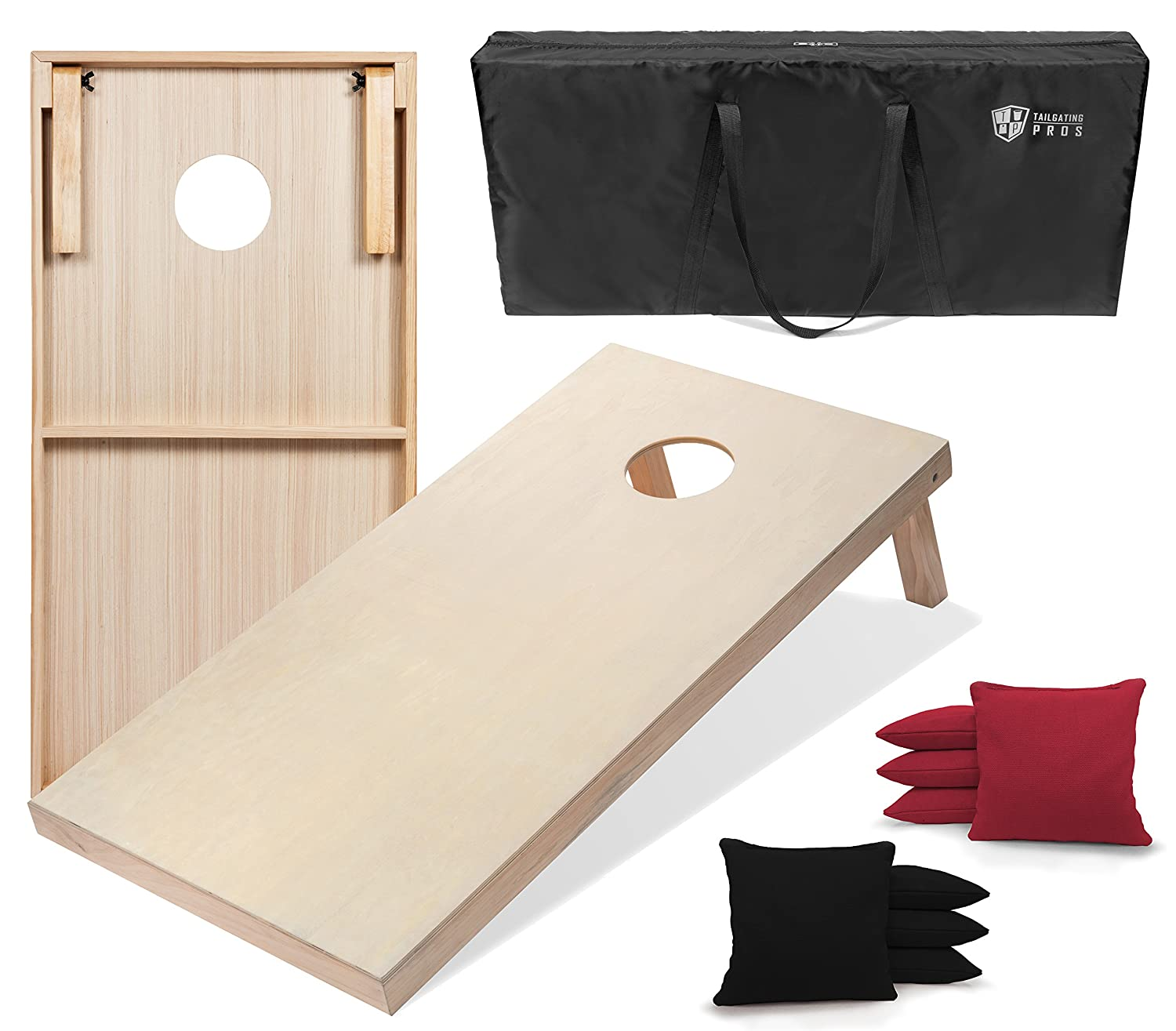 Tailgating Pros 4 ' x2 ' & 3 ' x2 ' CornholeボードW/Carrying Case &のセット8 Cornhole Bags (You Pickカラー)25バッグカラー。 B07BR69R85 3'x2' Boards|Black/ Scarlet Black/ Scarlet 3'x2' Boards