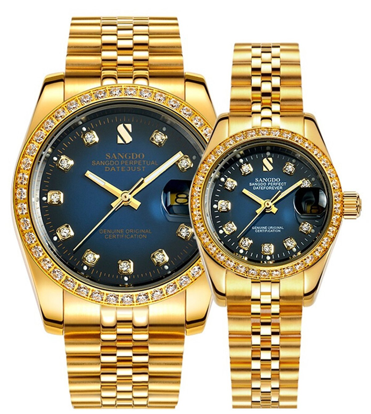 Couple Automatic Mechanical Stainless Steel Waterproof Rhinestones Luminous Date Watches Lovers Set of 2