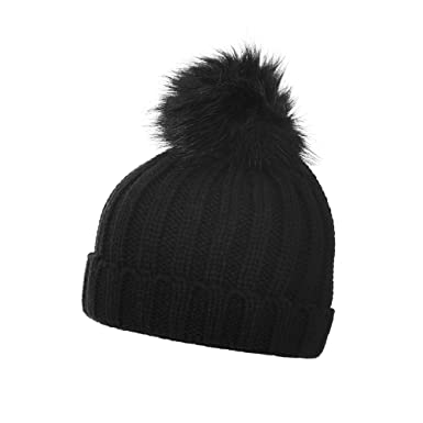 44455a1daec Love Lola Girls Bobble Hats Childrens Ribbed Faux Fur Pom Pom Winter Woolly  Chunky Knitted Ski Hats (Black)  Amazon.co.uk  Clothing