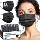 Black Disposable Face Mask, Black Face Masks for Women, Disposable Face Mask for Men, Breathable Comfortable Cool Individuall