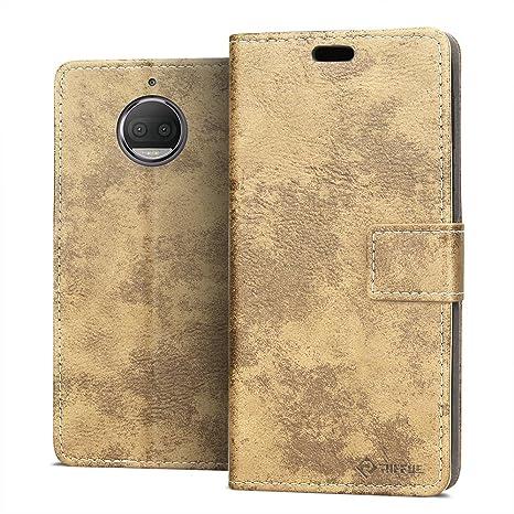 RIFFUE Funda Motorola Moto G5S Plus, Carcasa Libro Fina con Tapa Folio Flip de Cuero Sintético y Silicona Elegante Retro con Cierre Magnético, ...