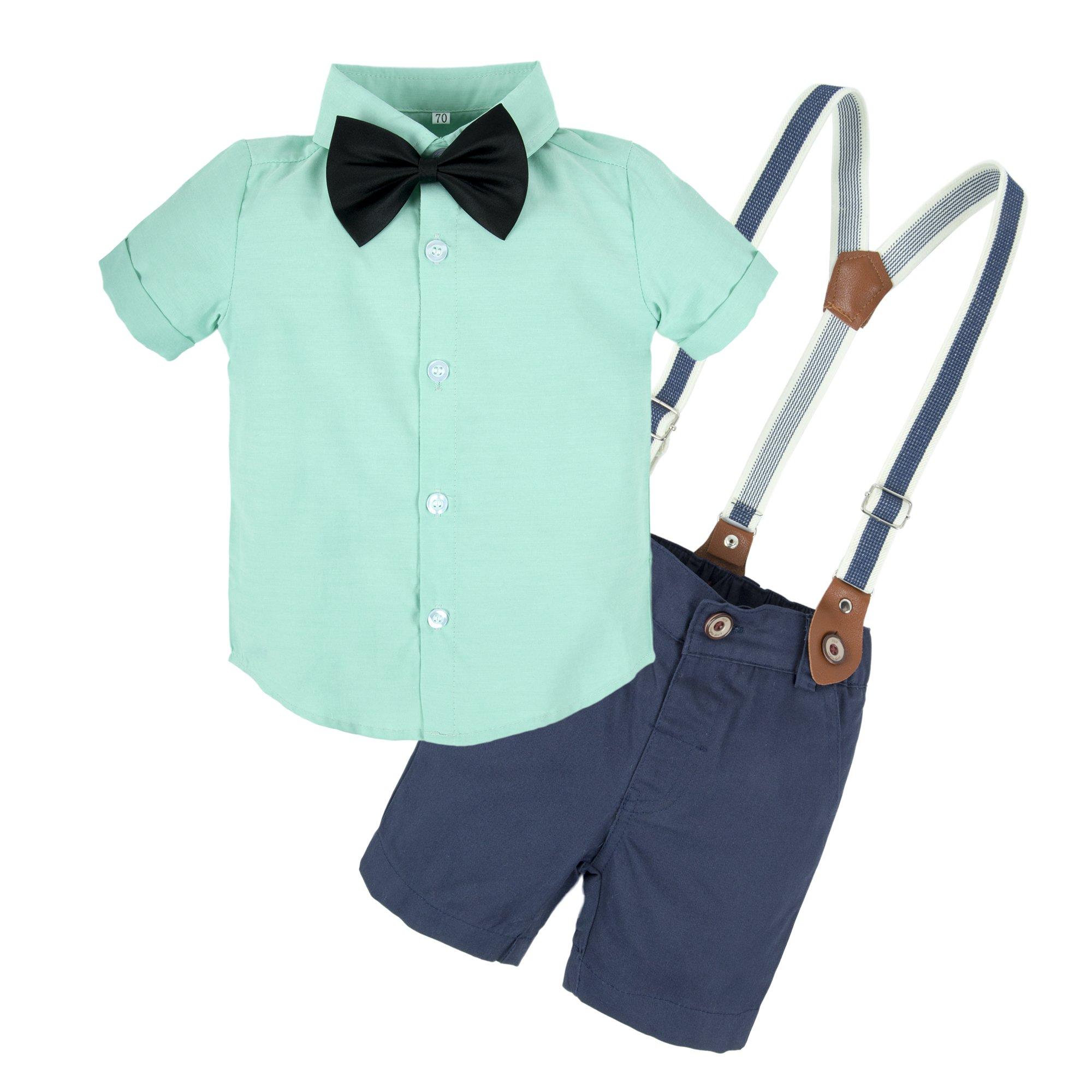 BIG ELEPHANT Baby Boys 2 Pieces Short Sleeve Shirt Suspender Shorts Set T73-Green-90 12-18 Months