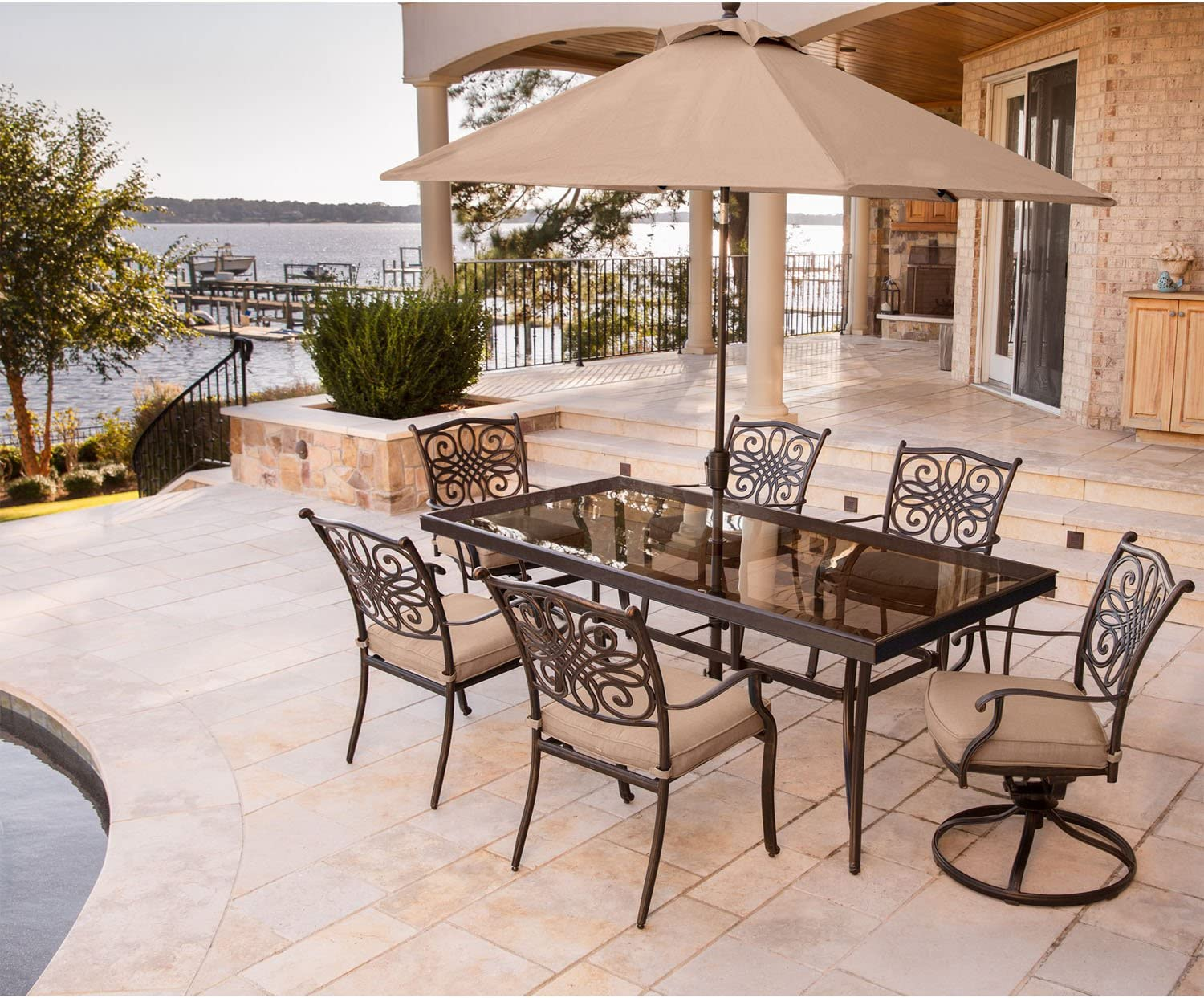 Hanover TRADDN7PCSW2G-SU Traditions 7 Piece Dining Set in Tan Outdoor Furniture