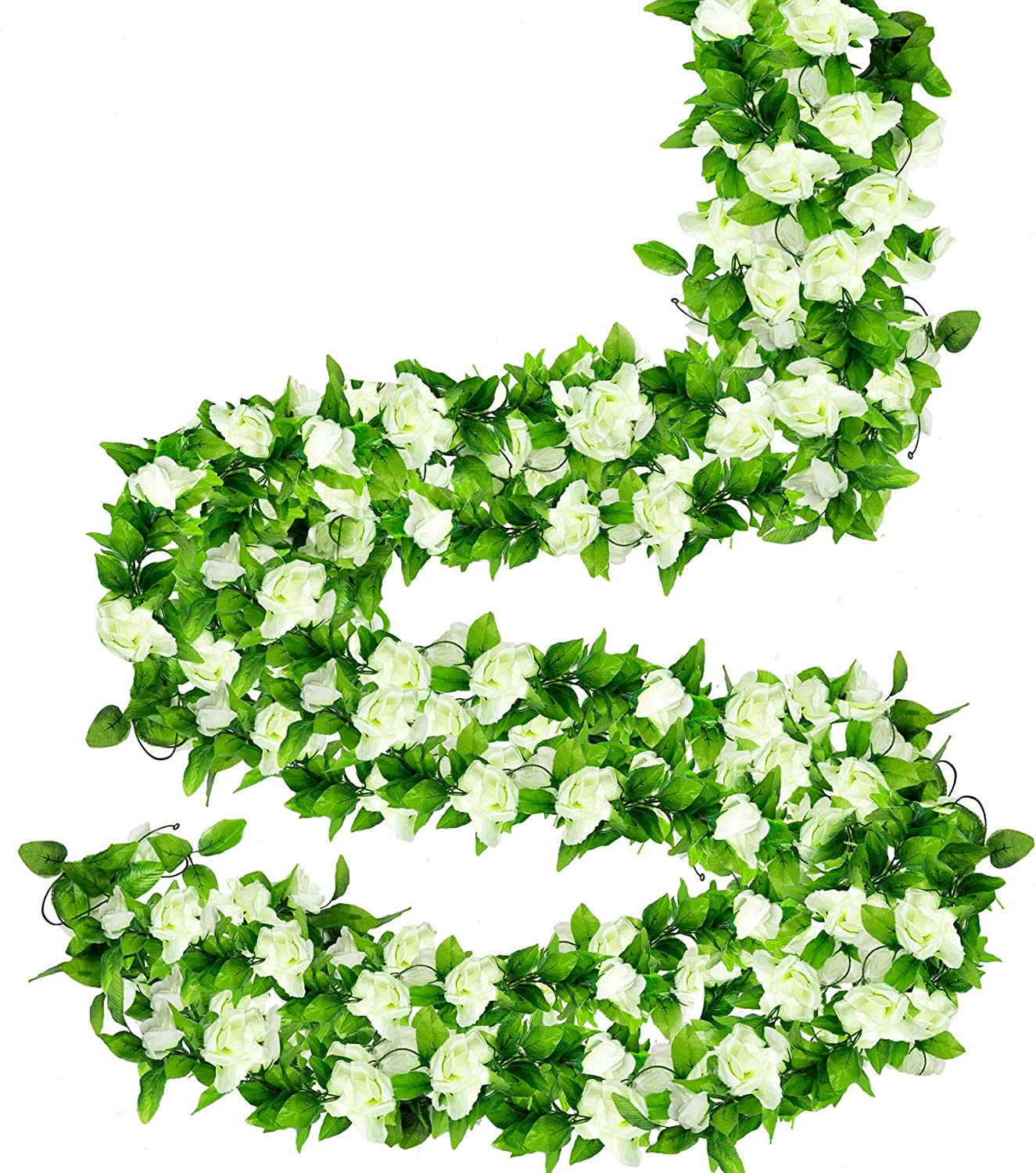 ADORAMOUR 5Pack Artificial Flowers Vines for Room Decor Aesthetic, Fake Roses Floral Garland Wall Decorations for Wedding Party Home Bedroom Garden Patio Indoor Outdoor- White