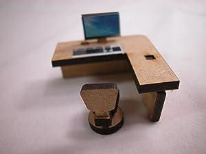 "Doll House Miniature 1/4"" Scale 1""x1"" Computer Desk"