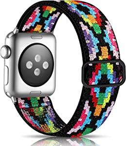 Getino Elastic Bands Compatible with Apple Watch 40mm 38mm for Women Men Cute Soft Adjustable Woven Fabric Band for iWatch SE & Series 6 5 4 3 2 1, Colorful Aztec Style
