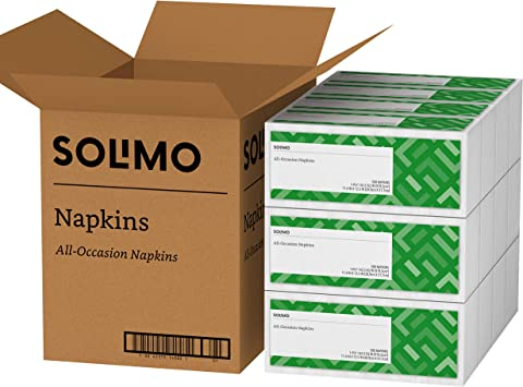 Amazon Brand - Solimo 1-ply Everyday Paper Napkins, White, 300 Napkins, 12 Pack