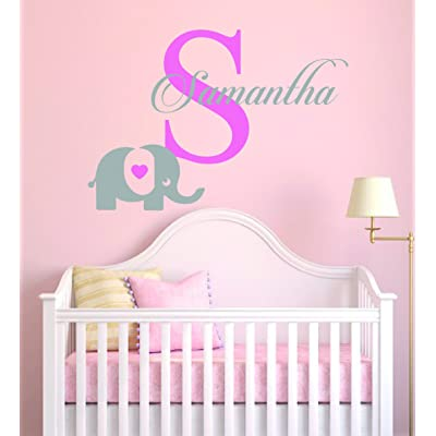 "Personalized Name Elephant & Initial - Baby Girl - Wall Decal Nursery For Home Bedroom Children(MM30) (Wide 22""x 12"" Height): Baby"