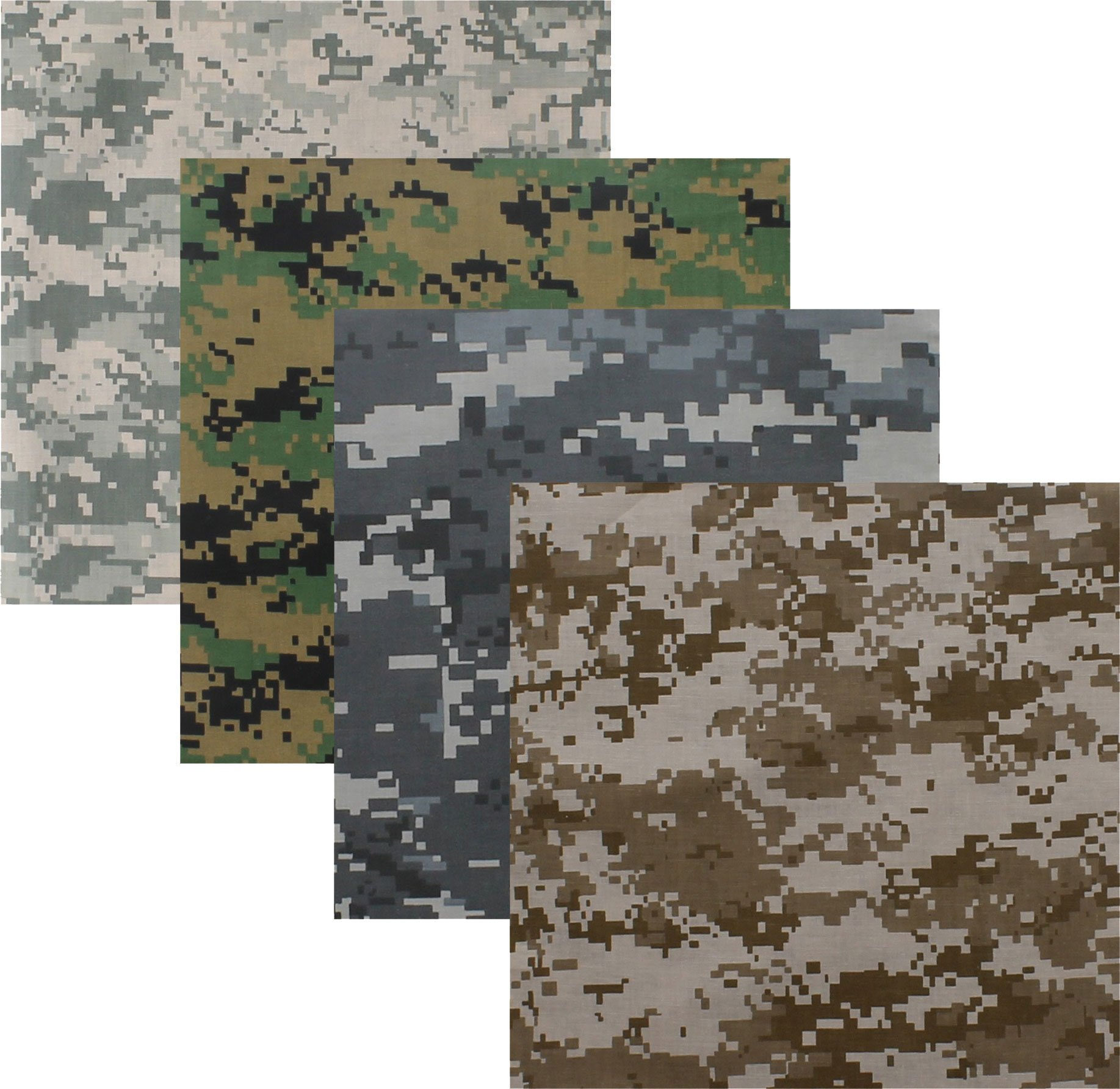 4 Pack - Bandanas Digital Camouflage Cotton Military Headwraps 22'' x 22''