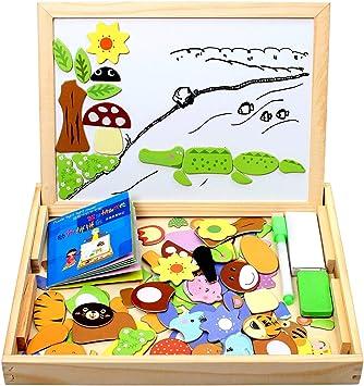 StillCool Puzzles de Madera Magnético 100 Piezas, Dibujo de Animal Colorido con Placa ,Rompecabezas Pizarra con Caja para Niños Desde 3 Años,Juguete Educativo para Regalo: Amazon.es: Juguetes y juegos