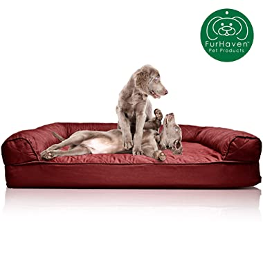 Furhaven Pet Dog Bed | Quilted Traditional Sofa-Style Living Room Couch Pet Bed Replacement Cover for Dogs & Cats